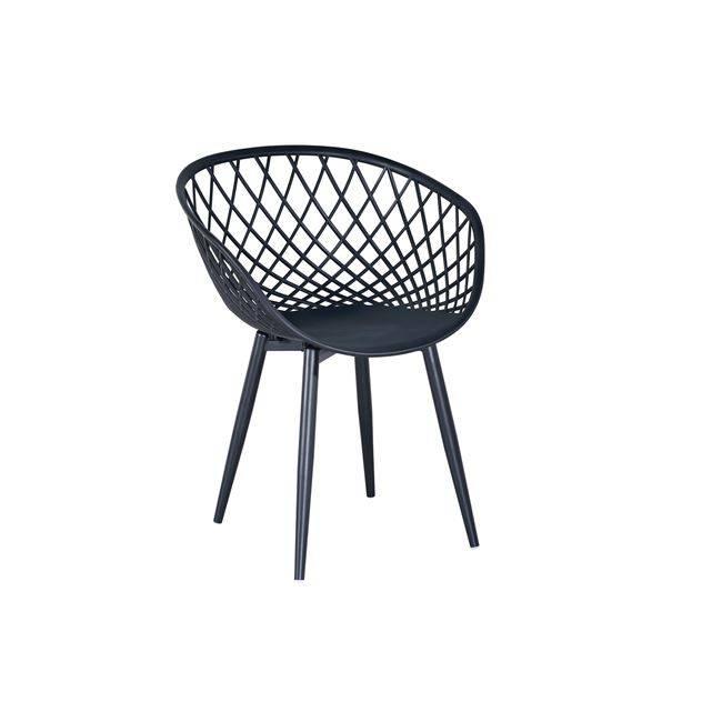 REX Πολυθρόνα Μεταλλική Μαύρη/PP-UV Μαύρο Ε373,2