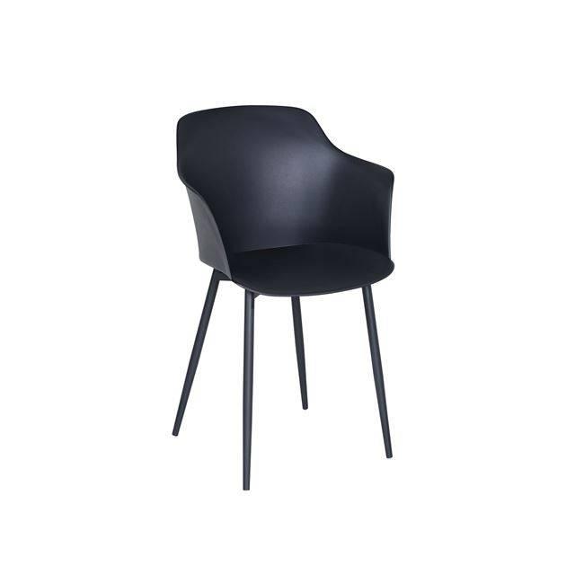 GLORIA Πολυθρόνα Μέταλλο & PP-UV Μαύρο Ε374,2