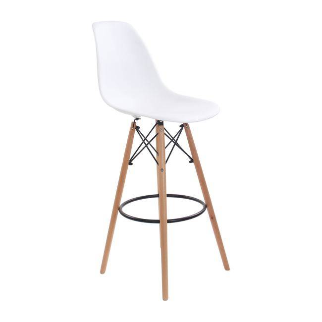 ART Wood Σκαμπώ BAR PP Λευκό (με πλάτη) Ε509,1