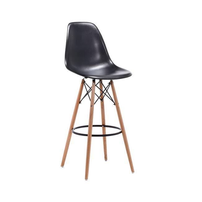 ART Wood Σκαμπώ BAR PP Μαύρο (με πλάτη) Ε509,2