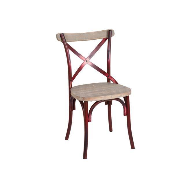DESTINY Wood Καρέκλα Μεταλ.Antique Red Ε5189,20