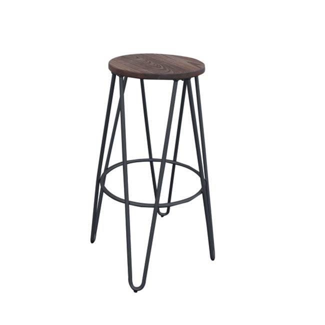 ARCO Wood Dark Oak Σκαμπώ BAR Μεταλ.Μαύρο Ε5207,1