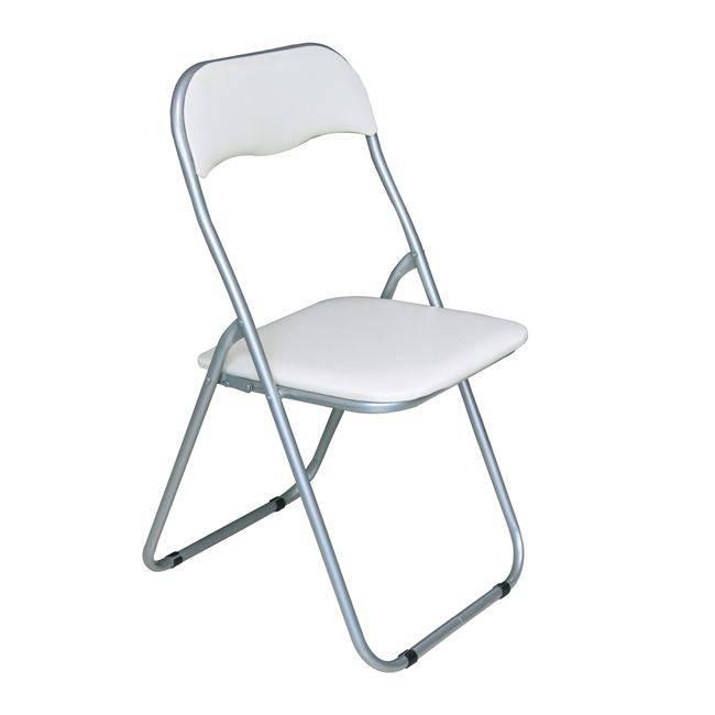 LINDA Καρέκλα Πτυσ/νη Pvc Άσπρο (Βαφή Γκρι) Ε557,4