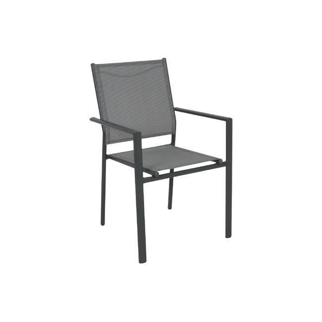 LANSON Πολυθρόνα Μεταλλική Ανθρακί/Textilene Grey Ε6765,1