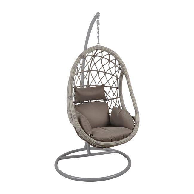 MACAN Κρεμαστή Πολυθ.Steel & Wicker Grey/Μαξ.Cappuccino Ε6766,2