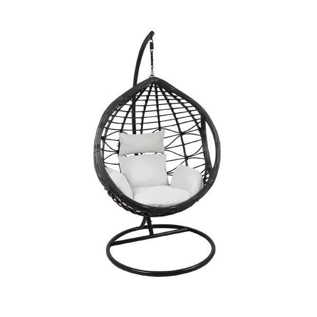 BILBAO Κρεμαστή Πολυθ.Steel & Wicker Dark Grey/Μαξ.Άσπρο Ε6767,1