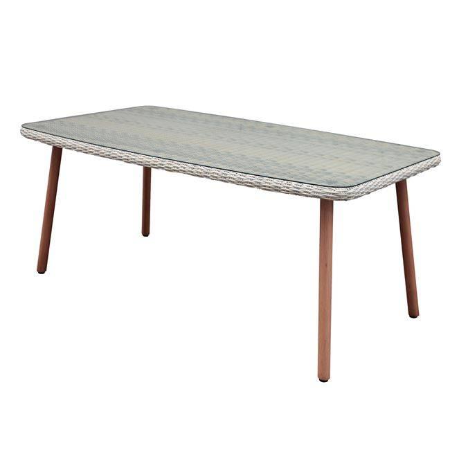 MARCO Τραπέζι 180x100cm Alu-Steel Teak/Wicker Μπεζ Ε6798