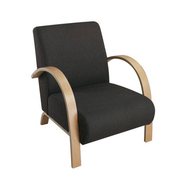 VECTRA Πολυθρόνα Σημύδα/Ύφασμα Ανθρακί Ε7155,1