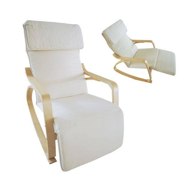 HAMILTON Super Relax Πολυθρόνα Σημύδα/Ύφασμα Λευκό Ε7157,1
