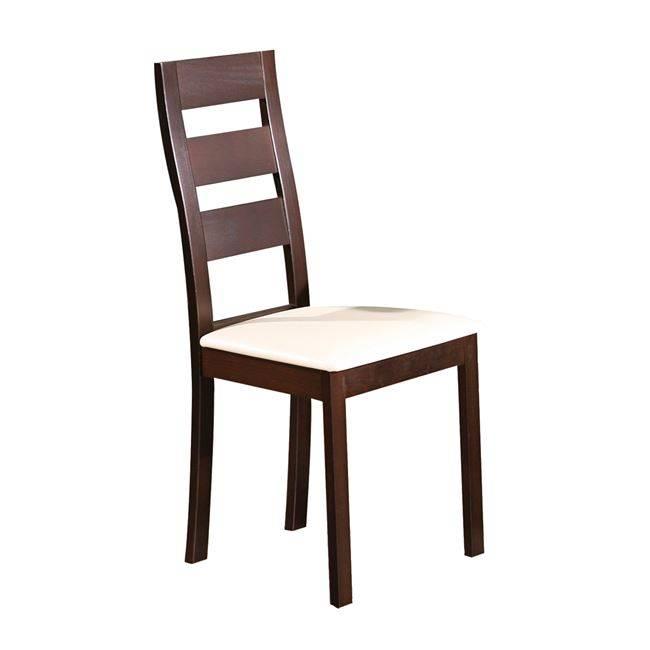 MILLER Καρέκλα Οξυά Σκ.Καρυδί/PVC Εκρού Ε782