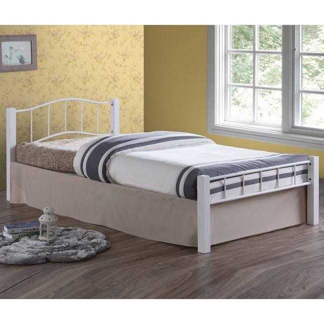 PALOMA Κρεβάτι Μονό 100x200cm Μεταλ.Άσπρο/Ξύλο Άσπρο Ε8022,1