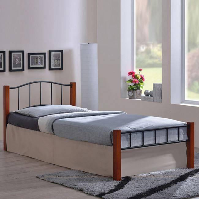 PALOMA Κρεβάτι 100x200cm Μεταλ.Μαύρο/Ξύλο Καρυδί Ε8022