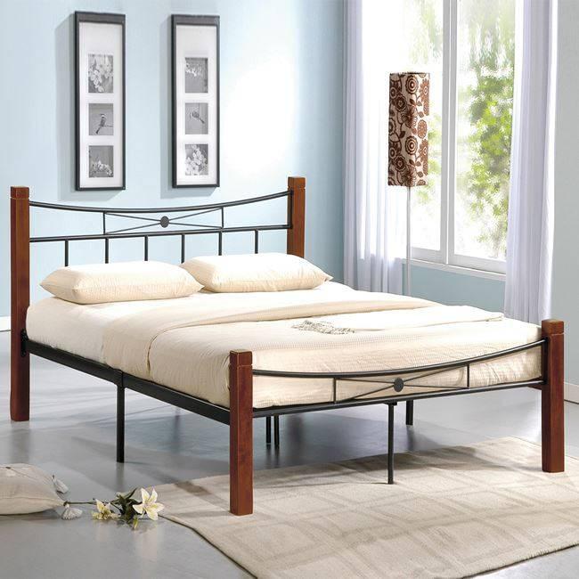 FLORA Κρεβάτι Διπλό 160x200cm Μεταλ.Μαύρο/Ξύλο Καρυδί Ε8026