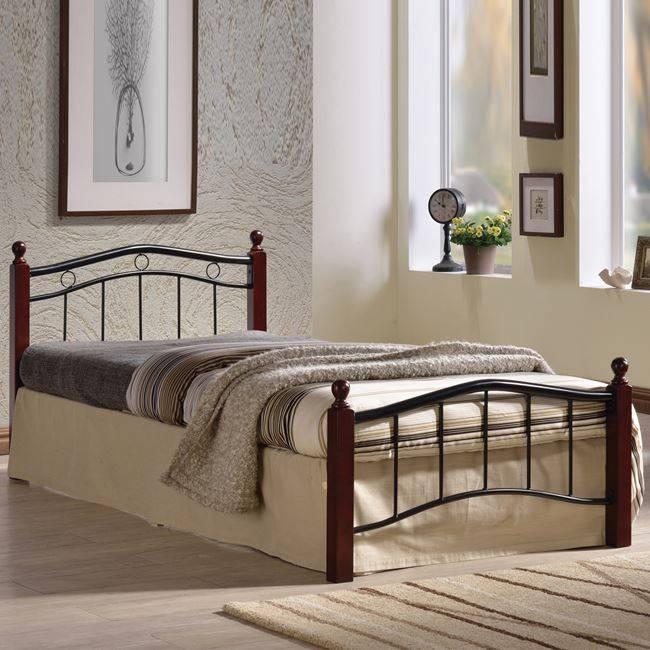 VICTOR Κρεβάτι Μονό 90x200cm Mεταλ.Μαύρο/Ξύλο Καρυδί Ε8035