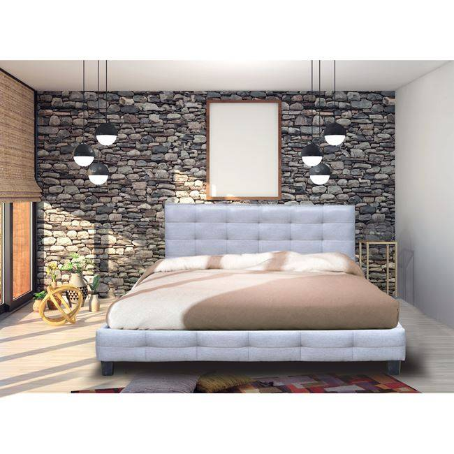 FIDEL Κρεβάτι 180x200cm Ύφ.Γκρι Ε8050,4