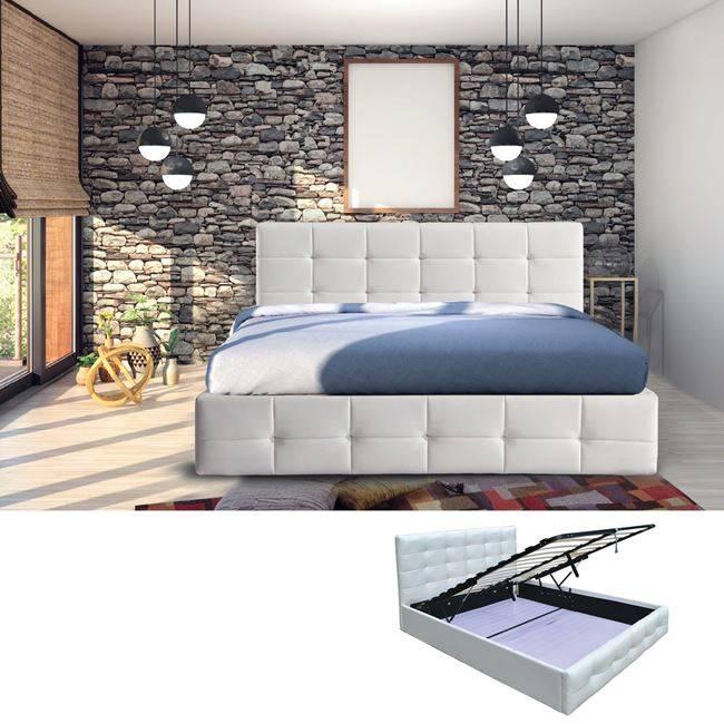 FIDEL Κρεβάτι 160x200cm Pu Άσπρο/Αποθ.Χώρος Ε8053Α,1