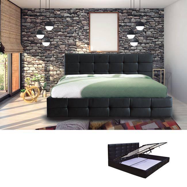 FIDEL Κρεβάτι 160x200cm Pu Μαύρο/Αποθ.Χώρος Ε8053Α