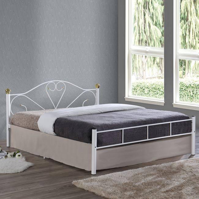 LAZAR Κρεβάτι Διπλό 150x200cm Μεταλ.Άσπρο Ε8066,1
