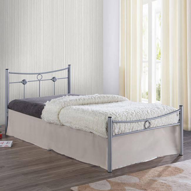 DUGAN Κρεβάτι Μονό 90x200cm Μεταλ.Silver Ε8068,1