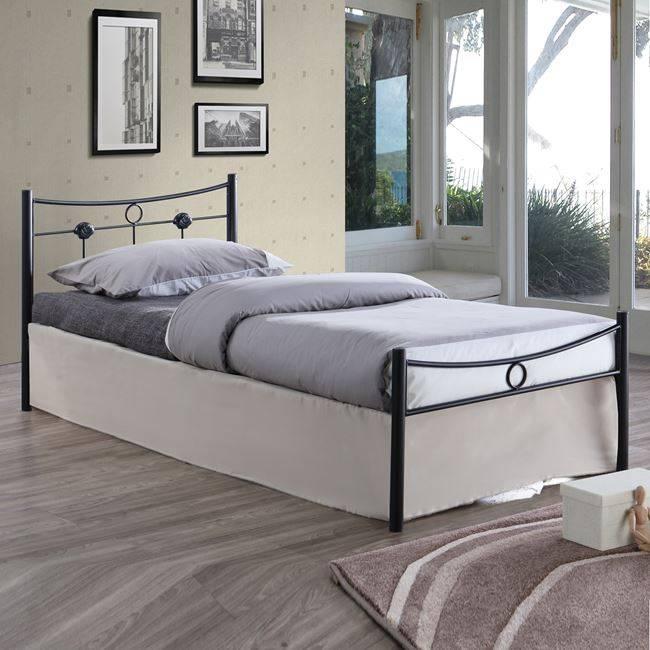 DUGAN Κρεβάτι Μονό 90x200cm Μεταλ.Σφυρήλατο Μαύρο Ε8068