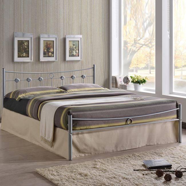 DUGAN Κρεβάτι Διπλό 150x200cm Μεταλ.Silver Ε8069,1