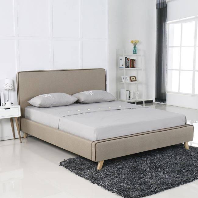 MORISSON Κρεβάτι 160x200cm Ύφασμα Dark Beige Ε8078,2