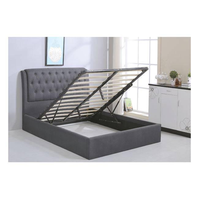 MAXWELL Κρεβάτι 160x200cm Ύφασμα Γκρι/Αποθ.Χώρος Ε8093,1