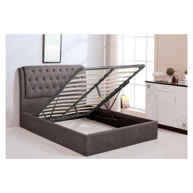 MAXWELL Κρεβάτι 160x200cm Ύφασμα Σκ.Καφέ/Αποθ.Χώρος Ε8093,2