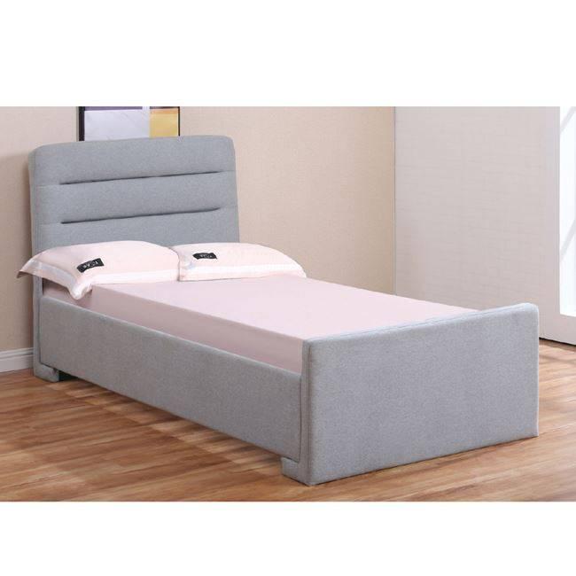 DORAL Κρεβάτι 90x190cm Ύφασμα Γκρι/Αποθ.Χώρος Ε8100,1