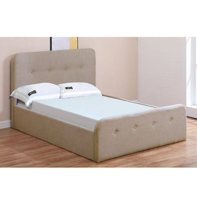 ACCORD Κρεβάτι 90x190cm Ύφασμα Μπεζ/Αποθ.Χώρος Ε8104,2