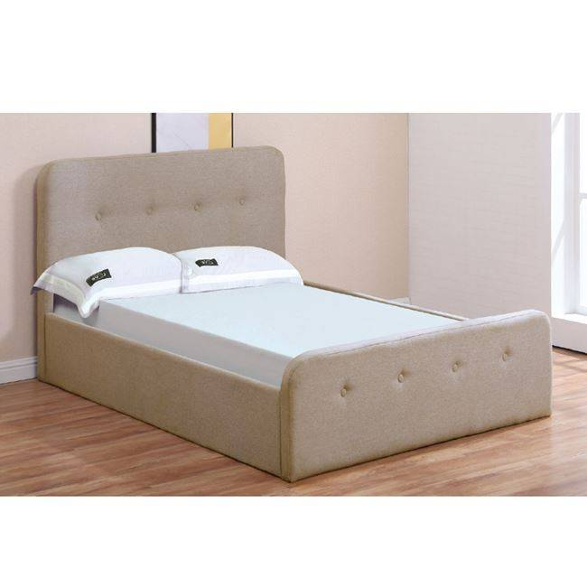 ACCORD Κρεβάτι 140x190cm Ύφασμα Μπεζ/Αποθ.Χώρος Ε8105,2