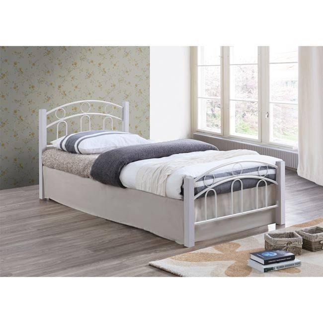NORTON Κρεβάτι 140x190cm Μεταλ.Άσπρο/Ξύλο Άσπρο Ε8108,1