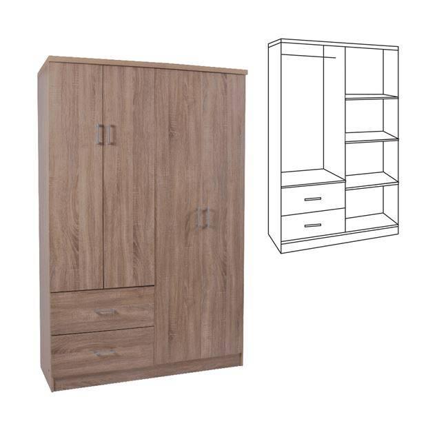LIFE Ντουλάπα 4-πόρτες 119x42x180 Sonoma Ε8382,2