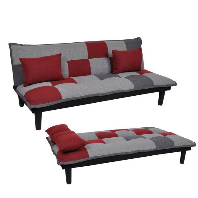 FENDER Καναπ.Κρεβάτι Ύφ.Patchwork-Red 168x76x70cm Ε9435