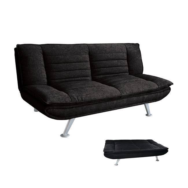ELVIRA Καναπ.Κρεβάτι Ύφασμα Μαύρο 183x88x85cm Ε9436,1