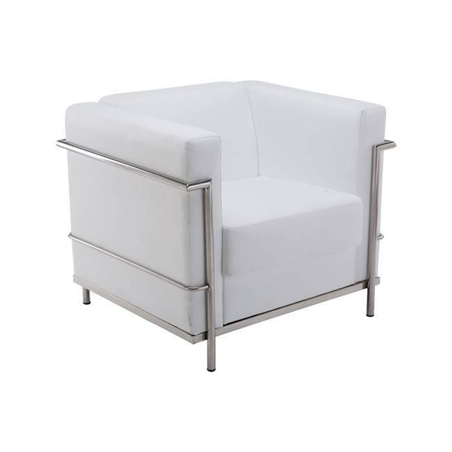 GENOVA Πολυθρόνα Inox/Pu Άσπρο Ε947,11