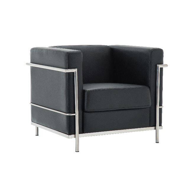 GENOVA Πολυθρόνα Inox/Pu Μαύρο Ε947,12