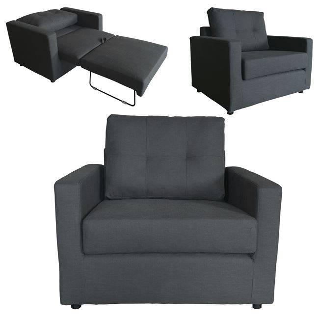 DEVON Πολυθρόνα-Κρεβάτι Ύφασμα Ανθρακί Ε9629,14