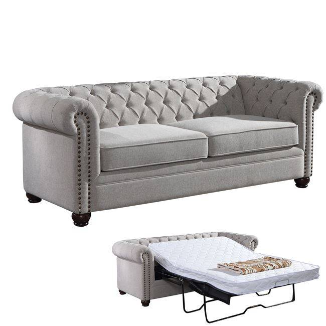 CHESTERFIELD Καναπές-Κρεβάτι Ύφασμα Μπεζ Ε9635,1