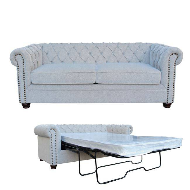 CHESTERFIELD Καναπές-Κρεβάτι Ύφασμα Grey-White Ε9635,2