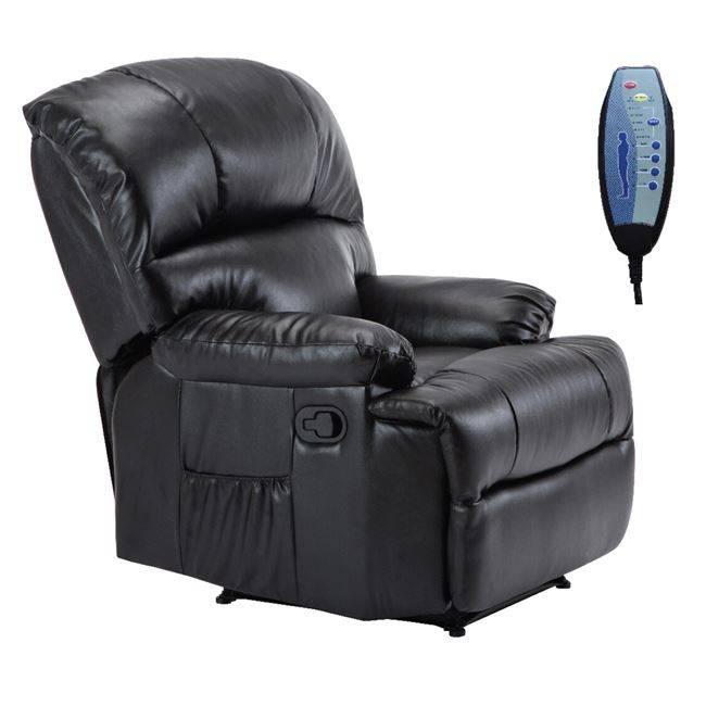 SPACE Πολυθρόνα Massage Pu Μαύρο Ε9731,2