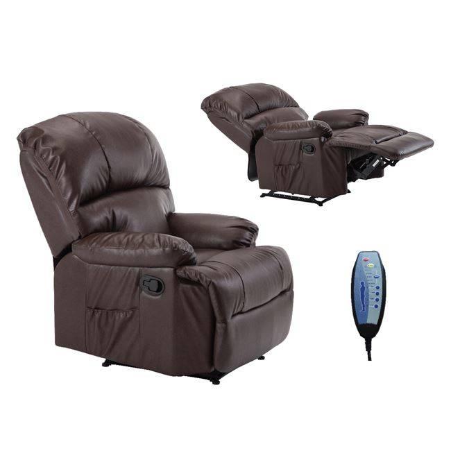SPACE Πολυθρόνα Massage Pu Καφέ Ε9731,3