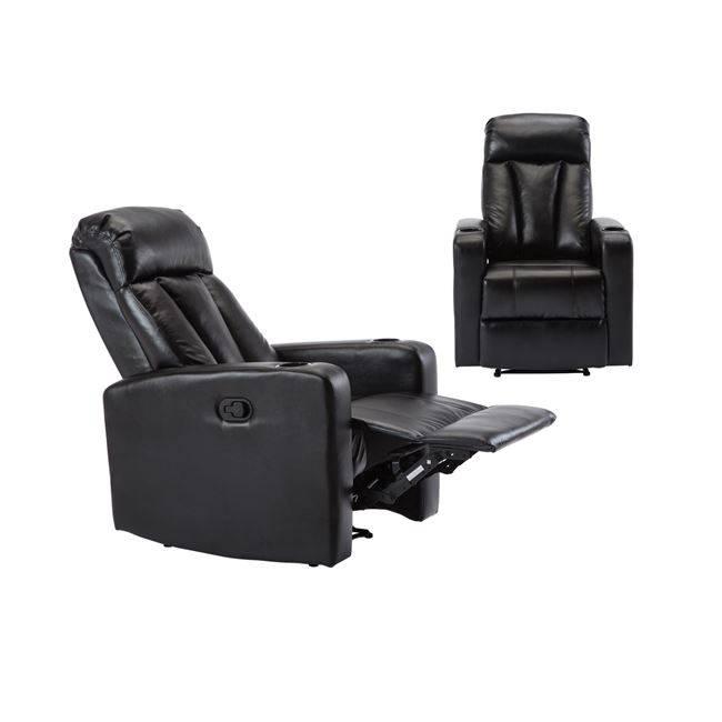 LIVING Πολυθρόνα Relax Pu Μαύρο Ε9740,2