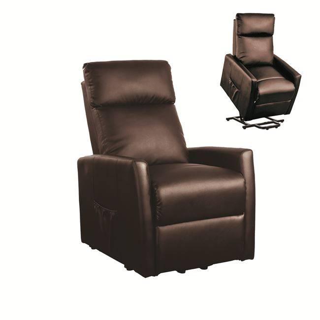 CORTINA Πολυθρόνα Lift- Relax PU Καφέ Ε976,2