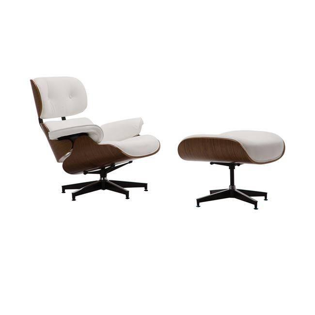 RELAX Πολυθρόνα με Σκαμπώ Pu Άσπρο Ε977,1