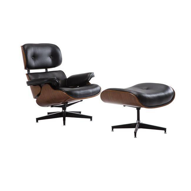 RELAX Πολυθρόνα με Σκαμπώ Pu Μαύρο Ε977,2
